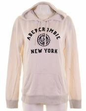 ABERCROMBIE & FITCH Womens Hoodie Jumper Size 16 Large White Cotton  NH16
