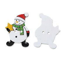 10 WOOD SNOWMAN BUTTONS CARD MAKING SCRAPBOOKING SEWING CRAFT 3.2 x 2.3 cm