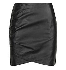 White Suede Black Leather Skirt Size 8