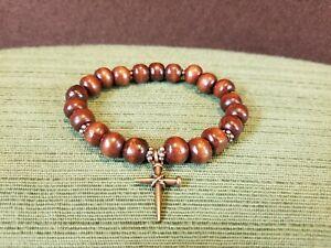 Wooden Bead Religious Copper Cross Stretch Spiritual Prayer Bracelet