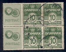 DENMARK (RE6) 10ore green, Block of 6, PONTIAC, used,
