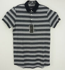 New Armani Exchange Men's Small Short Sleeve Black White Rayon Linen Polo Shirt