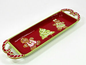 """St. Nicholas Square HOMEMADE HOLIDAYS 15"""" Treat Tray Cookie Platter Gingerbread"""