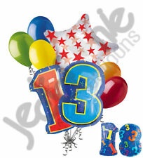 8 pc 13th Birthday Theme Balloon Bouquet Party Decoration Number Primary Color