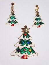 Earrings Set In Gift Box Christmas Tree Rhinestone Pendant Brooch &