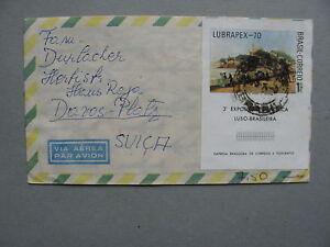 BRAZIL/BRASIL, cover to Switzerland 1974, S/S LUBRAPEX