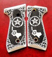 Beretta 92 92FS 96 custom faux ivory scrimshaw grips Texas Republic Checkered