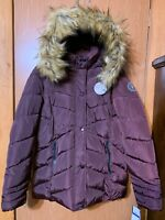 Madden Girl Womens Puffer Jacket New 1X Maroon Detachable Faux Fur Hooded Winter