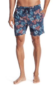 7 Diamonds Men's Drawstring Printed Shorts Royal Blue Floral size Large