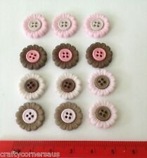 Flower Shaped 4 Hole Flat Buttons Pink Brown Cream by Dress It Up 6970
