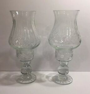 VINTAGE PAIR HAND CUT CRYSTAL 2 PC HURRICANE FAIRY LAMP CANDLE HOLDERS-POLAND
