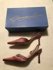 Dusty Pink Satin Sling Backs Diamanté Detail, Bag & Box Size 4/37 V Light Use