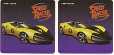 2 x Square Stickers ~ Speed Racer Car Racing Performance Cartoon Party Favours ~