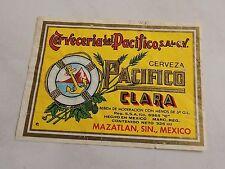 vintage Cerveza Pacifico Clara beer label Mexico Mazatlan