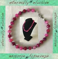Fuchsia Pink Banded Agate Multi Faceted Semi Precious Stone Heavy Bead Necklace