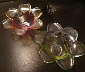 2 X Vintage Glass Tea Light Holders