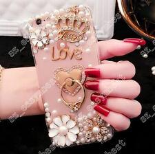 Rhinestone Diamond Girly Back Phone Case Holder Bling Cover For iPhone/Samsung
