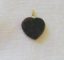 AGATE Gemstone HEART - tan & black - Gold Plate