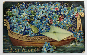 BEST WISHES Flowers on Boat Embossed Postcard c.1910;J262