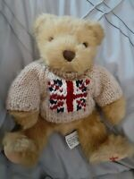 Harrods Knightsbridge Teddy Bear Plush British Jack Flag on Tan Knit Sweater