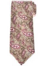 Isaia Napoli 7 Fold Tie Linen Brown Pink Paisley 06TI0246 $230