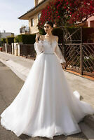 Shiny Lace Off The Shoulder A Line Wedding Dress White/Ivory Organza Bridal Gown