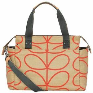 Orla Kiely Messenger Baby Changing Bag Linear Stem Stone BNWT RRP £150
