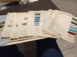 KAISER, FRAZER. RARE VINTAGE PAINT CHIP CHARTS.   LOOK SET. 1946-1955