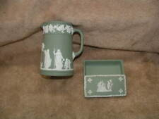 ANTIQUE WEDGWOOD MADE IN ENGLAND TRINKET BOX AND PITCHER STAMPED & DATED