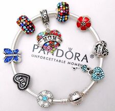 Authentic Pandora Silver Bangle Bracelet With Mom Wife Family European Charms.