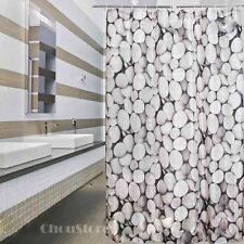 Bathroom Shower Curtain with Unique Stones Pattern Polyester Waterproof Hook Set
