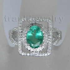 Vintage 14K White Gold 100% Real Natural Diamond Green Emerald Ring For Women