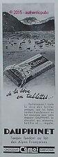 PUBLICITE CEMOI DAUPHINET CHOCOLAT SEVE EN TABLETTE DE 1934 FRENCH AD ADVERT PUB