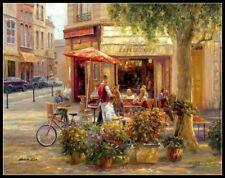 Cafe Corner, Paris - Counted Cross Stitch Patterns - Color Symbols Charts DIY