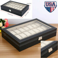 24 Slots Leather Jewelry Watch Box Lockable Display Case Organizer with Top