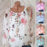 Womens Long Sleeve Strappy Floral Round Neck Blouse Ladies Casual Shirt Tee Tops