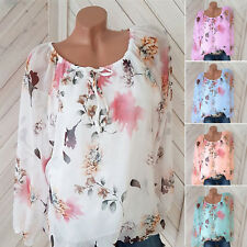Boho Womens Plus Size Floral Blouse Tunic Tops Ladies Loose Long Sleeve T-Shirt