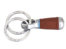 Piquadro Portachiavi con doppi anelli in pelle e metallo di colore marrone-silve