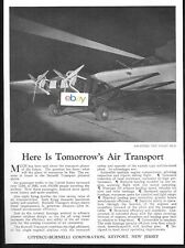 UPPERCU-BURNELLI CORP 1931 AWAITING THE NIGHT RUN TOMORROW'S AIR TRANSPORT AD