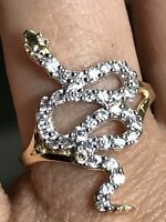 GOLD Snake Ring 14k Yellow Simulated Diamond 7 5 6 8 9