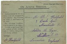 A 1916 FORCES ON ACTIVE SERVICE ENVELOPE SENT TO LANCASHIRE,FPO 216,SEE SCAN