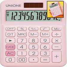 Unione Pink Calculator W A Bright Lcd Dual Power Handheld Desktop Business Offi