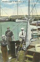 Swordfish Caught off Block Island Rhode Island Fishermen Nautical 1917 Postcard