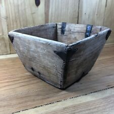 Primitive Antique Asian Chinese Rice Bowl Wood Handmade Metal Rustic