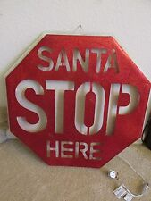 """Large 22"""" Lighted Christmas Santa Stop Here Sign Red/White Glitter Stand or Hang"""