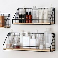 Wooden Iron Wall Shelf Wall Mounted Storage Rack With hooks for Dorm Shelves US