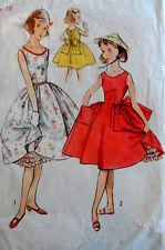 Vtg 50s Girl's Perky Dress & Separate Petticoat Simplicity 4316 S10 Breast 28
