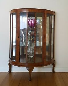 Vintage Crystal Cabinet Walnut Veneer, semi-circular, with key