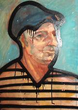 Vintage European surrealist oil painting man portrait