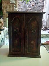 Wooden Almirah Storage Box Vintage Design Box Hand Made Brass Fitted Art